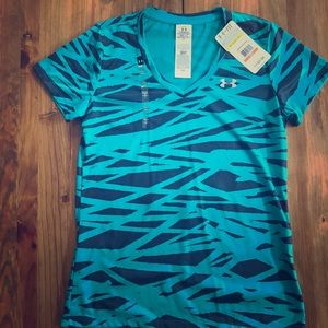 NWT Under Armour V-Neck Navy & Teal Pattern